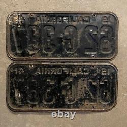 1941 California license plate pair 62 G 387 YOM DMV clear Ford Chevy 1942
