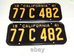 1941 California license plate pair 77 C 482 DMV clear Ford CHEVYS PRO RESTORED