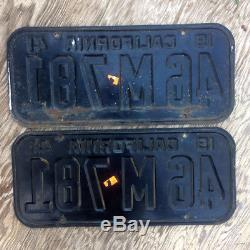 1941 California license plate pair YOM DMV clear 46 M 781 Ford Chevy Cadillac