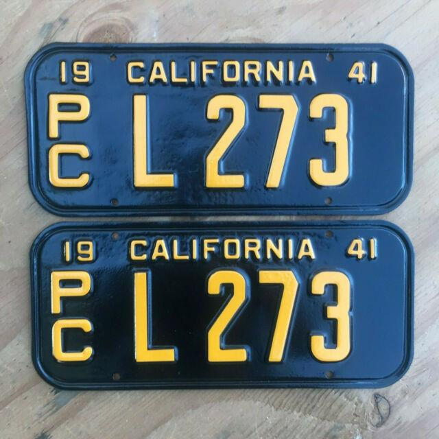 1941 California Truck License Plate Pair Pc L 273 Yom Dmv Clear Ford Chevy