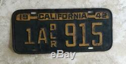 1942 1943 1944 DEALER Original CALIFORNIA License Plate Vintage For Display Only