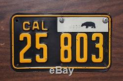 1942 1944 California Motorcycle License Plate w Bear Tab HI Quality Original