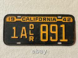 1942 California Dealer License Plate-original 1A DLR 891