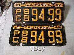 1942 California License Plate Pair, Original, Rare Truck DMV Clear #9499