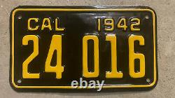 1942 California Motorcycle License Plate 24016 Yom Dmv Clear Harley Indian 1943