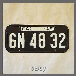 1945 1946 California License Plate DMV Clear YOM CA Vintage
