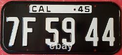 1945 California License Plate Original Plate Very Nice! Free Shipping