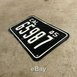 1945 California motorcycle license plate 65987 YOM DMV clear Harley Indian 1946