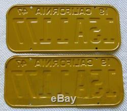1947,1948,1949,1950 California License Plate Pair # 15A 1177, CA DMV Clear