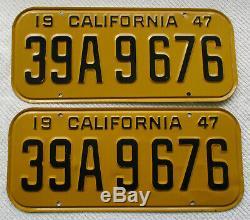 1947,1948,1949,1950 California License Plate Pair # 39 A 9676 DMV Clear