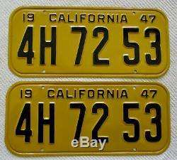 1947,1948,1949,1950 California License Plate Pair, 4H 72 53 DMV CLEAR