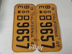 1947 1950 California License Plate Pair, Com DMV Clear Original #d/d 96 57