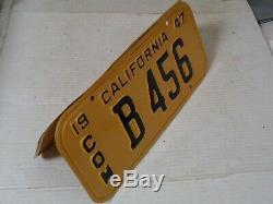 1947 1950 California License Plate Pair, Com DMV Clear Restored #b 456