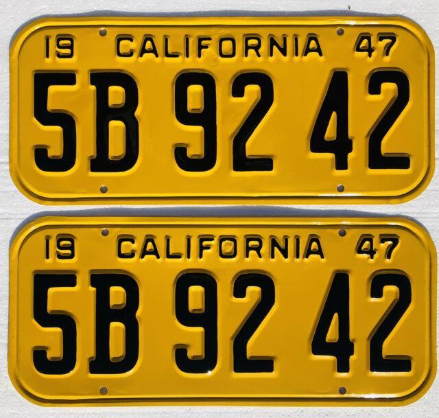 1947-1950 California License Plates Pair, Dmv Clear, Professionally Restored