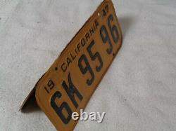 1947-48-49-50 California car license Plate PAIR, ORIGINAL #6K 95 96 DMV CLEAR