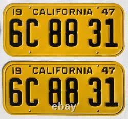1947-50 CALIFORNIA Car License Plates Pair, Restored DMV Clear Rare