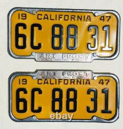 1947-50 California License Plates Pair With Frames. DMV Clear Plates are Restored