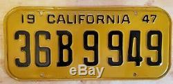 1947 CALIFORNIA License Plates Original Condition Pair 36 B 9949