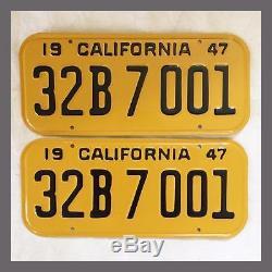 1947 CALIFORNIA License Plates Pair Restored DMV Clear YOM 1948 1949 1950