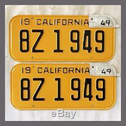 1947 CALIFORNIA License Plates Pair Restored DMV Clear YOM 1949 Metal Tags Pair