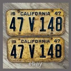 1947 CALIFORNIA Passenger Car License Plates Pair Original DMV Clear YOM