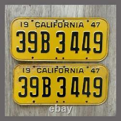 1947 CALIFORNIA Passenger Car License Plates Pair Original DMV Clear YOM 1950