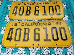 1947 California CAR license Plate pair ORIG PAINT RARE DMV CLEAR, 48-49-50