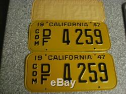 1947 California Commercial License Plates, 48 or 49 or 50 Tab, DMV Clear, NM