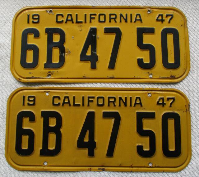1947 California License Plate Pair # 6b 47 50, Ca Dmv Clear
