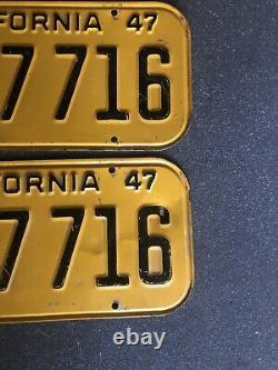 1947 California License Plate Pair, DMV Clear Original 44a 7 716