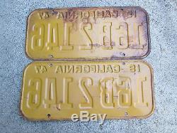 1947 California License Plate Pair Plates 16B 2146 1948 1949 1950