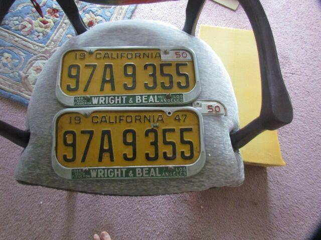 1947 California License Plates & 1950 Tabs & Period Frames! Los Angeles Great