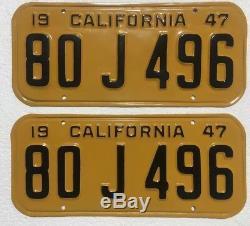 1947 California License Plates Pair DMV Clear Professionally Restored