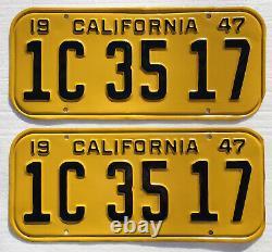 1947 California License Plates Pair. DMV Clear. Restored