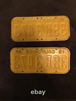 1947 California License Plates Pair Great Condition DMV CLEAR Vintage