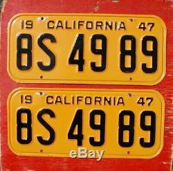 1947 California Nice Original PAIR 8S 49 89 License Plates