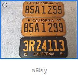 1947 California Vintage license Plate pair & 1951 Original Condition