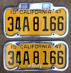1947 California license plate pair 34 A 8166 YOM DMV clear Ford Chevy Plymouth