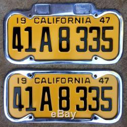 1947 California license plate pair 41A8335 YOM DMV clear Ford 1948 1949 1950