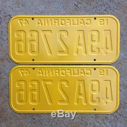 1947 California license plate pair 49 A 2766 YOM DMV clear Ford Chevy 1948 1949