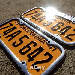 1947 California license plate pair 74A5642 YOM DMV clear Ford 1948 1949 1950