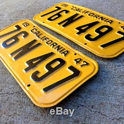 1947 California license plate pair 76 N 497 YOM DMV clear Ford Chevy Buick 1949