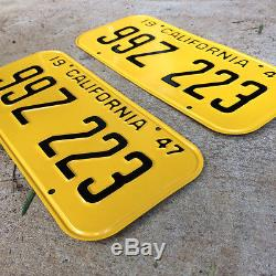 1947 California license plate pair 99Z 223 YOM DMV clear Ford Chevy Buick 1949