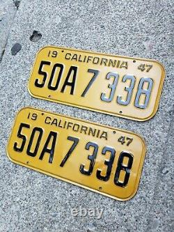 1947 California license plate pair YOM DMV clear Ford Chevy