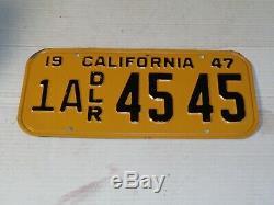 1947 DEALER CALIFORNIA License Plate Original Near NOS 1A 45 45