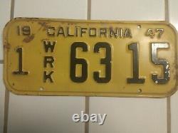 1947 Very Rare Work Plates California DMV Clear