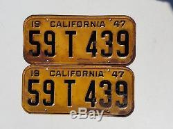 1947 pair California License plates 6 Digit Nice Original Patina Cond. Rat Rod
