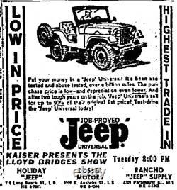 1950's Long Beach California Dosser Motors Jeep Vintage License Plate Frame