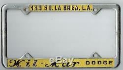 1950's Los Angeles California Wil-Mar Dodge Vintage MOPAR License Plate Frame