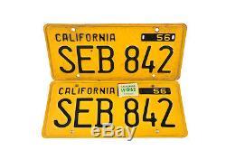 1950s Original California Yellow License Plates -SEB 842- Pair
